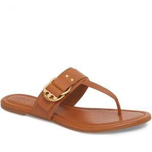 New Tory Burch Marsden Flat Thong In Tan Leather